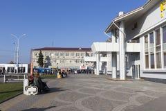 Sikt av Pashkovskiy den slutliga flygplatsen i Krasnodar, Ryssland Fotografering för Bildbyråer