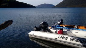 Sikt av Patagonia sjön arkivbild