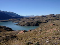 Sikt av Patagonia sjön Arkivfoton