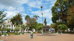 Sikt av Pedro Moncayo Park i mitten av staden av Ibarra Royaltyfri Fotografi