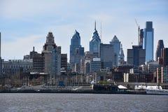Sikt av Philadelphia horisont i Pennsylvania Arkivbild
