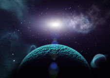 Sikt av planeter, månar och universumet Arkivbilder