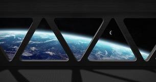Sikt av planetjord från inre en rymdstation Royaltyfri Fotografi