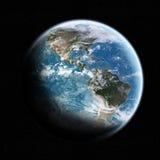 Sikt av planetjorden i utrymme Arkivfoton