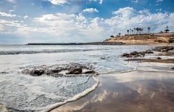 Sikt av Playa de Fanabe, Fanabe strand i Tenerife, kanariefågelöar Fotografering för Bildbyråer