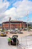 Sikt av Plaza de Espana med arenan i Barcelona, Spanien Arkivbild