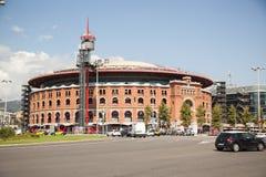 Sikt av Plaza de Espana med arenan i Barcelona, Spanien Arkivfoto