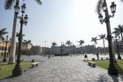Sikt av Plazaborgmästaren av Lima Peru historisk stad royaltyfri bild