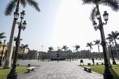 Sikt av Plazaborgm?staren av Lima Peru historisk stad royaltyfria foton