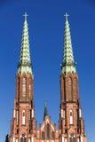 Sikt av Polen. Kyrka i Warszawa. Arkivbild