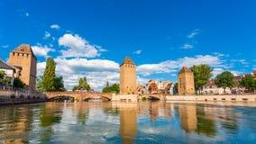Sikt av Ponts-Couverts; , i Strasbourg, Alsace, Frankrike fotografering för bildbyråer