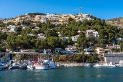 Sikt av Port de Xabia Javea i Spanien, Europa royaltyfri bild