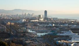 Sikt av port Vell och det LaBarceloneta området barcelona spain Fotografering för Bildbyråer