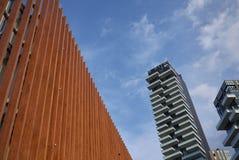 Sikt av Porta Nuova skyskrapor arkivfoton