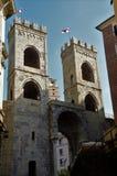 Sikt av Porta Soprana torn Genoa Landmarks fotografering för bildbyråer