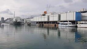Sikt av porten med biosfärjordklotet och akvariet, Genua, Italien stock video
