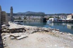 Sikt av porten av Rethymnon, Kreta royaltyfria foton