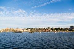 Sikt av Portland Maine från havet Arkivbild