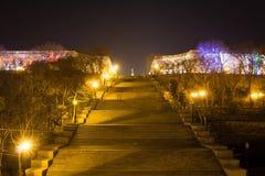 Sikt av Potemkin trappa och monumentet till Duke de Richelieu odessa ukraine 18 mars 2016 Arkivbild