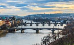 Sikt av Prague broar Royaltyfri Fotografi