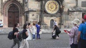 Sikt av Prague den gamla stadfyrkanten - Prague - tjeck arkivfilmer