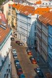 Sikt av Prague från kullen av det Vysehrad fortet Fotografering för Bildbyråer