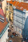 Sikt av Prague från kullen av det Vysehrad fortet, Tjeckien Arkivbild