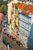 Sikt av Prague från kullen av det Vysehrad fortet, Tjeckien Royaltyfri Fotografi
