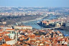 Sikt av Prague från slotten, Hradcany Arkivfoto