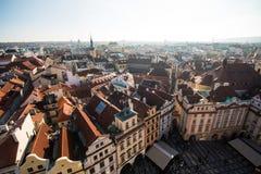 Sikt av Prague som en punkt av turistic destinationer Arkivbilder