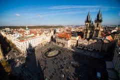 Sikt av Prague som en punkt av turistic destinationer Arkivfoto