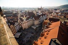 Sikt av Prague som en punkt av turistic destinationer Arkivfoton