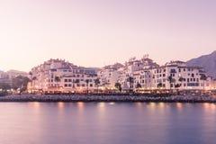 Sikt av Puerto Banus, Spanien Arkivfoton
