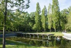 Sikt av Quinta das Conchas (Shell Park) en parkera och en trädgård i det östliga området av Lissabon, Portugal Arkivbilder