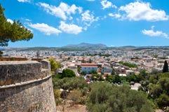 Sikt av Rethymnonen från Fortezzaen crete greece Arkivfoton