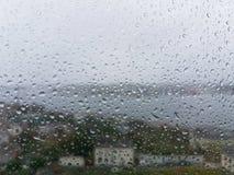 sikt av Ribadeo på en regnig dag Royaltyfri Bild