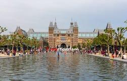 Sikt av Rijksmuseum i Amsterdam Arkivbild