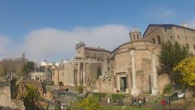 Sikt av Roman Forum från Capitol Hill stock video