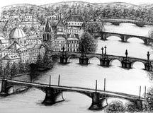 Sikt av romantiska Prague, Praha Arkivbilder