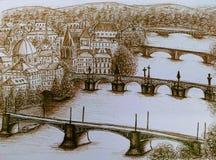 Sikt av romantiska Prague, Praha Royaltyfri Foto