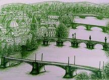 Sikt av romantiska Prague, Praha Royaltyfri Bild