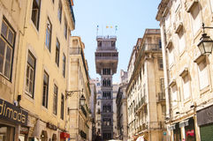 Sikt av Santa Justa Lift Royaltyfri Fotografi
