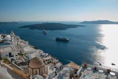 Sikt av Santorini från Thira royaltyfria bilder
