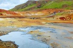 Sikt av Seltún KrysuvÃk för geotermiskt område geotermiskt område iceland royaltyfri foto