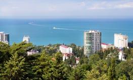 Sikt av semesterorten av den Sochi delen av parken Arkivfoto