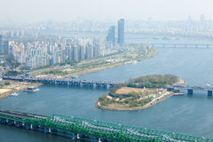 Sikt av Seoul från 63 som bygger Royaltyfria Foton
