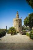 Sikt av Seville i Spanien med tornet av guld Arkivfoto