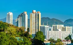 Sikt av Shaen Tin District i Hong Kong, Kina royaltyfri bild