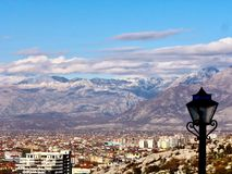 Sikt av Shkoder, Albanien Arkivbild
