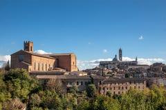 Sikt av Siena Cathedral Fotografering för Bildbyråer
